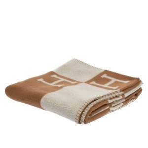 Hermes Ecru & Camel Merino Wool Avalon Throw Blanket