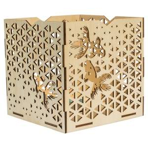 Tiffany & Co. Brown Laser Cut Fish Wooden Tealight Candle Holder Box