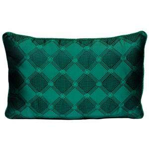 Versace Medusa Green & Black Cotton & Velvet Pillow