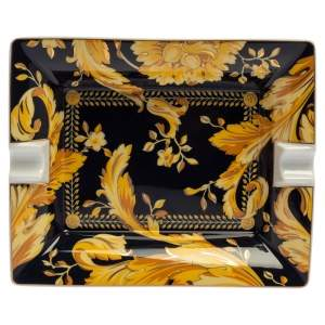 Versace X Rosenthal Dark Blue & Yellow Barocco Vanity Ashtray 16 cm