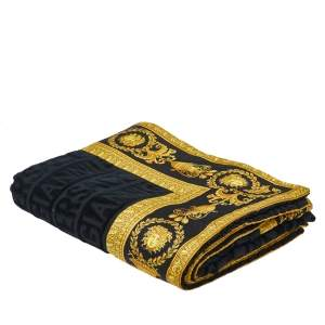 Versace Black Barocco Logo Terry Cotton Large Beach Towel