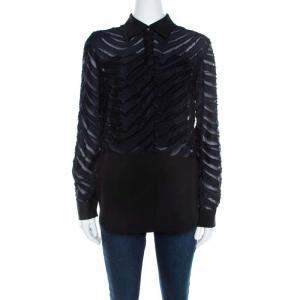 3.1 Phillip Lim Black and Navy Blue Sheer Fil Coupe Stripe Shirt XS