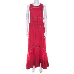 3.1 Phillip Lim Pink Silk Eyelet Embroidered Pintucked Flared Evening Gown S