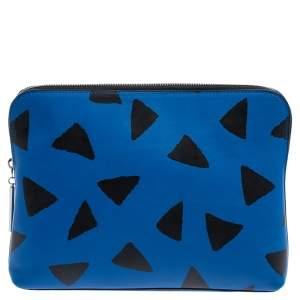 3.1 Phillip Lim Black Blue/Black Leather Triangle Print Pouch