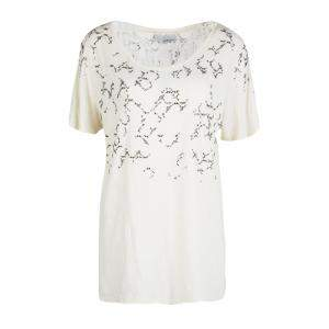 3.1 Phillip Lim Cream Embellished Slub Jersey Short Sleeve T-Shirt L