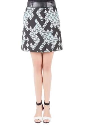 3.1 Phillip Lim Celadon Black Geometric Patterned Jacquard Leather Belted A Line Skirt S