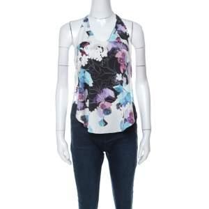 3.1 Phillip Lim White Floral Print Silk Sleeveless Racerback Vest XS