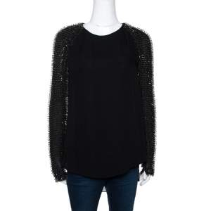 3.1 Phillip Lim Black Silk Crepe Static Beaded Sleeve Top XS