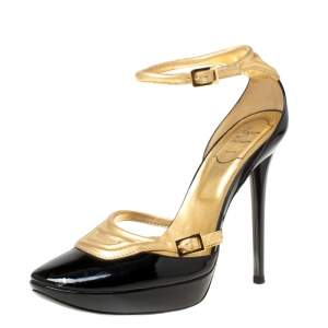 Roger Vivier Black Patent Leather Metallic Gold Ankle Strap Platform Pumps Size 39.5