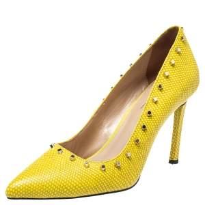 حذاء كعب عالى دى كى أن واى جلد أفانا جلد نقش سحلية أصفر مقاس 38