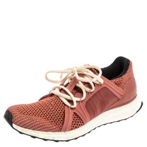 adidas By Stella McCartney Pink Mesh And Knit Fabric Ultra Boost Lace Up Sneakers Size 38 2/3