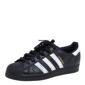 Adidas Black/White Leather And Rubber Superstar Low Top Sneakers Size 39 1/3