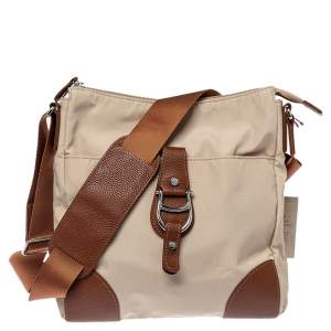 Aigner Beige/Brown Nylon and Leather Logo Buckle Crossbody Bag