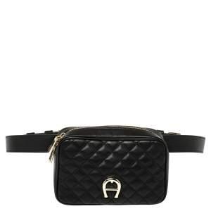 Aigner Black Quilted Leather Garda Belt Bag