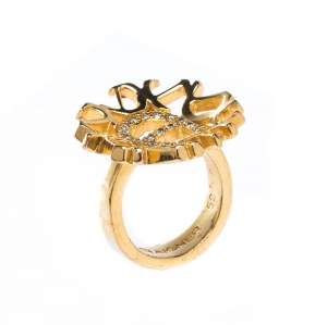 Aigner Crystal Gold Tone Cocktail Ring Size 52