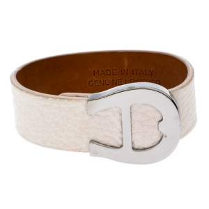 Aigner Silver Tone White Leather Cybill Wide Bracelet
