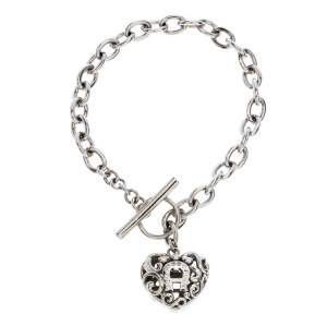 Aigner Silver Plated Crystal Cutwork Heart Charm Toggle Bracelet