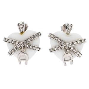 Aigner Crystal Resin Heart Charm Silver Tone Earrings