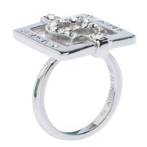 Aigner Crystal Studded Silver Tone Square Ring Size 56