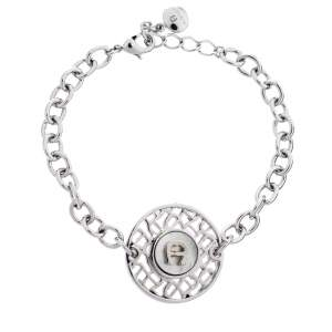 Aigner Silver Tone Mother of Pearl Logo Bracelet