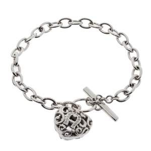 Aigner Silver Tone Crystal Heart Charm Toggle Bracelet