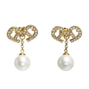 Aigner Gold Tone Faux Pearl Crystal Drop Earrings