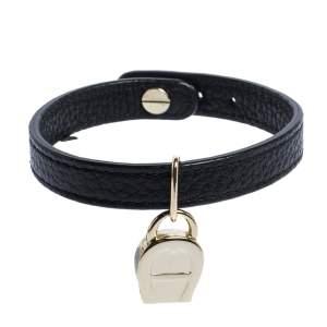 Aigner Black Leather Gold Tone Logo Charm Bracelet