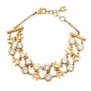 Aigner Crystal Studded Gold Tone Chain Link Bracelet