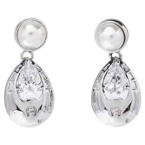 Aigner Faux Pearl & Crystal Silver Tone Drop Earrings