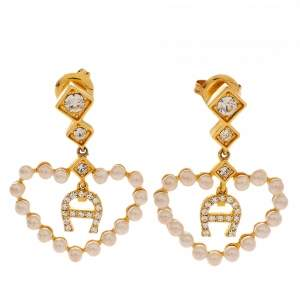 Aigner Faux Pearl Heart Crystal Gold Tone Drop Earrings