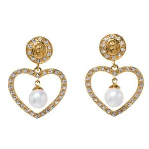 Aigner Heart Faux Pearl Crystal Gold Tone Drop Earrings