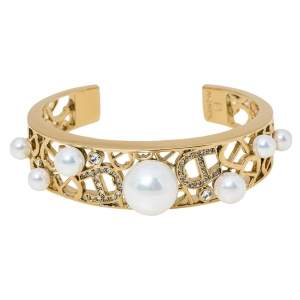 Aigner Faux Pearl Crystal Gold Tone Open Cuff Bracelet