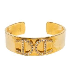 Aigner Crystal Studded Logo Gold Tone open Cuff Bracelet