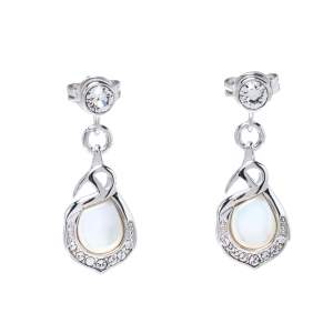 Aigner Crystal Mother of Pearl Silver Tone Drop Earrings