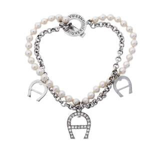 Aigner Faux Pearl Crystal Silver Tone Double Strand Toggle Bracelet