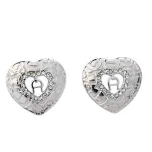 Aigner Silver Tone Heart Crystal Stud Earrings