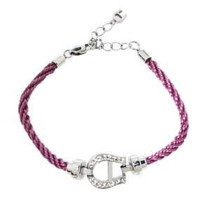 Aigner Lavender Silk Cord Crystal Logo Bracelet