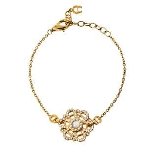 Aigner Mother of Pearl Crystal Logo Flower Bracelet