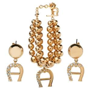 Aigner Gold Tone Layered Bracelet and Logo Drop Earrings Set