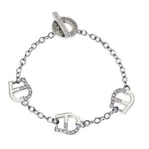 Aigner Silver Tone Crystal and Enamel Logo Toggle Bracelet