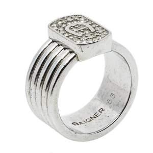Aigner Silver Tone Crystal Logo Band Ring Size EU 56