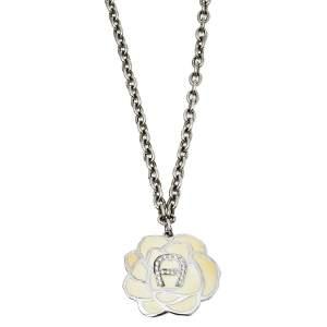 Aigner Silver Tone Pale Yellow Enamel Crystal Logo Pendant Necklace
