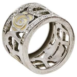 Aigner Silver Tone Pale Yellow Enamel Crystal Logo Band Ring Size EU 56