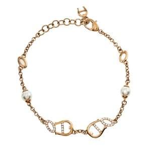 Aigner Rose Gold Tone Crystal Logo Bracelet