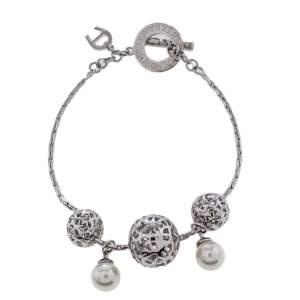 Aigner Silver Tone Logo Sphere Pearl Toggle Bracelet