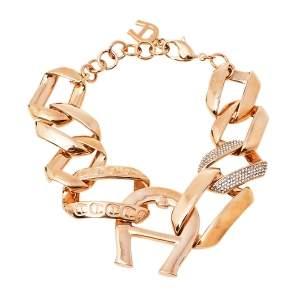 Aigner Rose Gold Plated Crystal Pisa Bracelet