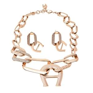 Aigner Pisa Rose Gold Tone Necklace and Earrings Set