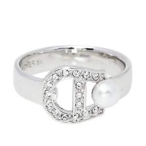 Aigner Silver Tone Crystal Pearl Logo Ring Size EU 54