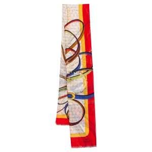 Aigner Multicolor Belt Printed Cotton & Silk Scarf