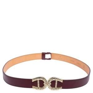Aigner Burgundy Leather Double Buckle Waist Belt 90CM